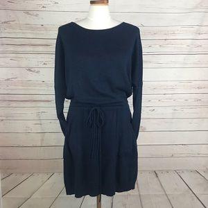 RACHEL ROY Blue Long Sleeve Dress Tie Waist Sz LG